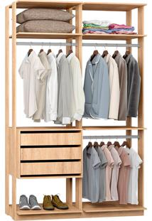 Closet Modulado 3 Gavetas E 3 Cabideiros Clothes 9013 – Be Mobiliário - Carvalho Mel