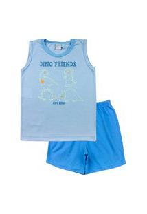Pijama Infantil Ano Zero Menino Malha Listrada Estampa Refletiva Dino Friends - Azul