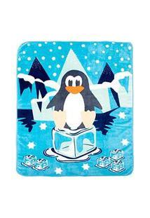 Cobertor Bebê Microfibra Azul Pinguim (90X110Cm) - Baby Joy - Tamanho Único - Azul