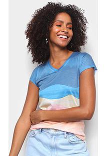 Camiseta Energia Natural Baby Look Básica Feminina - Feminino-Azul+Amarelo