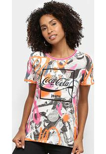 Camiseta Coca Cola Full Print Feminina - Feminino-Preto+Branco
