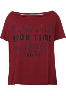 Camiseta Triton Aplicações Vinho - Kanui