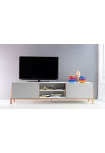 Rack Tv Contemporâneo-Moderno Eric 1800 Mdf Branco Pés Madeira Cor Jatobá 2 Portas Cinza - 186X43,6X48,5 Cm
