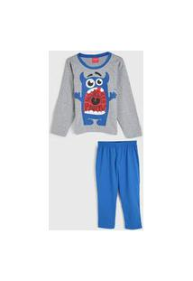 Pijama Tricae Longo Infantil Monstrinho Cinza/Azul