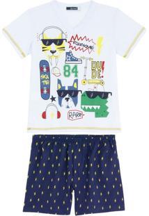 Pijama Infantil Masculino Lua Cheia Bermuda Raios