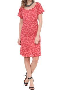 Vestido Energia Fashion Devore Manga Curta Vermelho