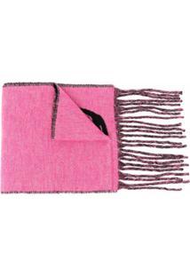 Alexander Mcqueen Cachecol De Lã Mista Com Estampa De Logo - Rosa