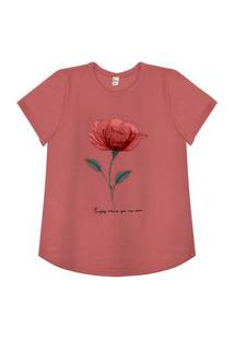 T-Shirt Feminina Rose Rovitex Rosa