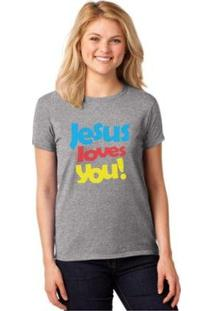 Camiseta T-Shirt Jesus Loves You Baby Look Feminina - Feminino