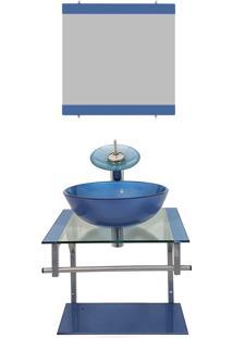 Gabinete De Vidro 40Cm Para Banheiro Croácia Azul Ekasa
