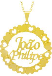Gargantilha Horus Import Pingente Manuscrito João Philipe Banho Ouro Amarelo