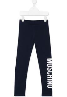 Moschino Kids Calça Com Estampa De Logo - Azul