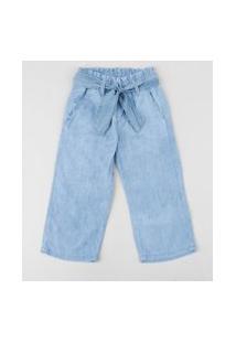 Calça Jeans Infantil Clochard Com Faixa Para Amarrar E Bolsos Azul Médio