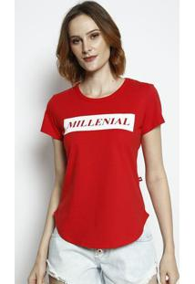 "Camiseta ""Millenial""- Vermelha & Branca- Coca-Colacoca-Cola"