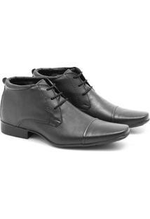Bota Social Couro Prime Shoes Cano Curto Masculina - Masculino-Preto