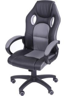 Cadeira Office Racer V16 Preta Com Detalhe Cinza Base Nylon - 39276 Sun House