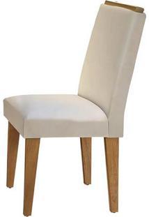 Cadeira Lunara Veludo Creme Imbuia
