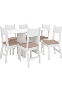 Conjunto De Mesa E 6 Cadeiras Para Sala De Jantar Milano-Poliman - Branco / Savana