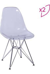 Jogo De Cadeiras Eames Dkr- Incolor & Prateado- 2Pçsor Design