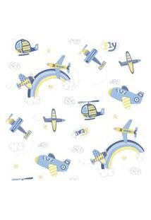Papel De Parede Coleçáo Bambinos Azul Branco Aviões 3306 Bobinex