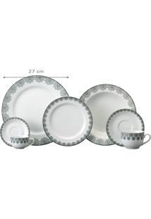 Aparelho De Jantar E Chá Porcelana Schmidt 30 Peças - Dec. Taís
