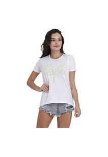 Camiseta Jay Jay Basica Folhas Linhas Branca Dtg