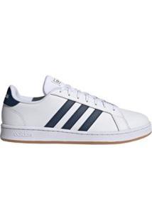 Tênis Adidas Grand Court Masculino - Branco E Marinho - Masculino-Branco+Azul Royal