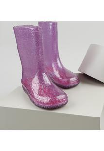 Bota Galocha Infantil Palomino Transparente Com Glitter Rosa