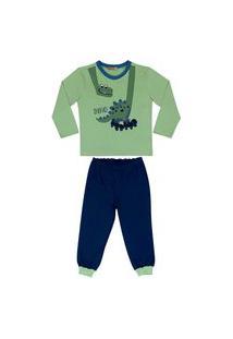 Conjunto Pijama Dinossauro Douvelin Verde