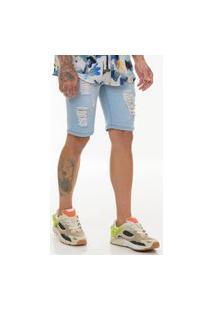 Bermuda Jeans Premium Offert Destroyed Com Elastano Azul