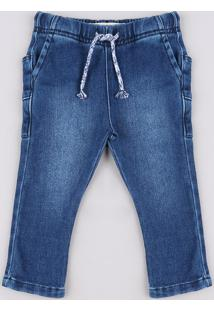 Calça Jeans Infantil Em Moletom Com Bolsos Azul Escuro