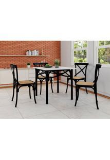 Conjunto De Mesa De Jantar Com 4 Cadeiras E Tampo De Madeira Katrina Preto
