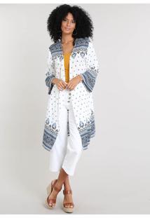 Kimono Feminino Estampado Floral Off White - Único