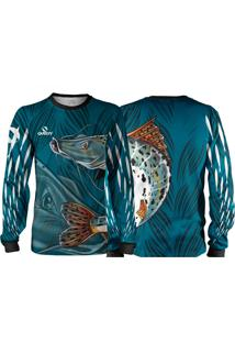 Camisa Pesca Quisty Pintado Moleque Azul Proteção Uv Dryfit Infantil/Adulto - Kanui