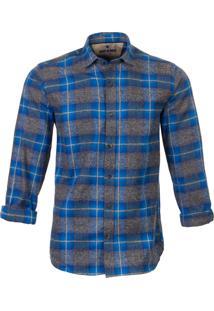 Camisa Made In Mato Flanelada Manga Longa Xadrez Azul E Cinza