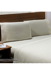 Jogo De Cama Stripe Queen Size- Off White- 4Pçs-Niazitex