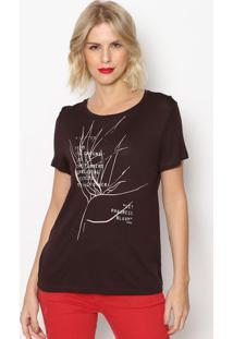Camiseta ''A Letter'' - Marrom Escuro Rosa Claro- Forum