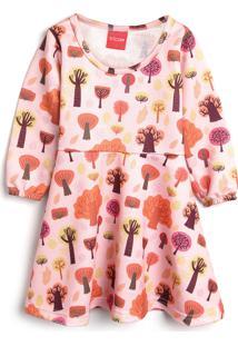 Vestido Tricae Infantil Árvores Rosa/Laranja