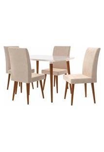 Conjunto Mesa De Jantar Jade C/ 4 Cadeiras 1,20X0,90 Pés Palito White Rv Móveis Bege