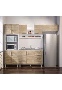 Cozinha Compacta Floripa Iii 10 Pt 3 Gv Branca E Carvalho Claro