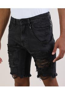 Bermuda Jeans Masculina Slim Destroyed Com Corrente Preta