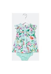 Vestido Infantil Com Calcinha Estampa Botânica - Tam 0 A 18 Meses   Teddy Boom (0 A 18 Meses)   Azul   9-12M
