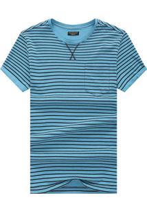 Camiseta Listrada Detail V - Azul Claro Xg