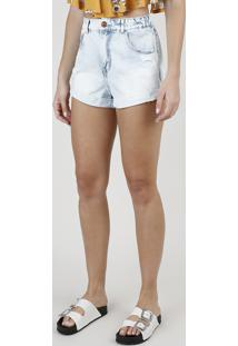 Short Jeans Feminino Bbb Mom Cintura Alta Com Rasgos Azul Claro