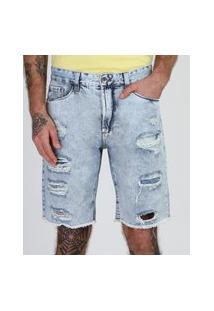 Bermuda Jeans Masculina Marmorizada Slim Destroyed Com Bolsos Azul Claro