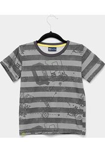 Camiseta Infantil Quimby Manga Curta Listrado Masculino - Masculino-Chumbo