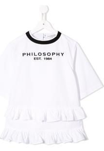 Philosophy Di Lorenzo Serafini Kids Vestido Com Franzido E Logo - Branco