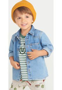 Camisa Bebê Menino Jeans Com Bolso