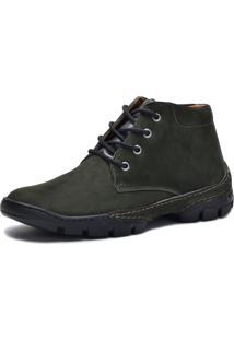 Bota Cano Curto Over Boots Couro Verde Militar