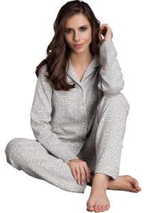 Pijama Longo Inspirate Aberto Animal Print Cinza